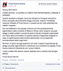 FN minaccia sgombero Nogara